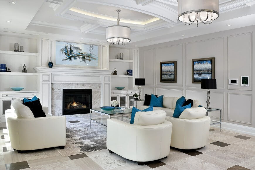 Here Is A Stunning And Elegant Living Room Has Black White Marble Floor