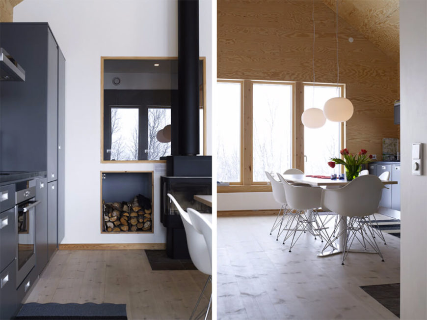 In this split screen image, we see both the cozy fireplace, with wall mounted wood storage, as well as the open, broad nature of the dining area. Large windows in this space offer expansive views and natural light for the interior.