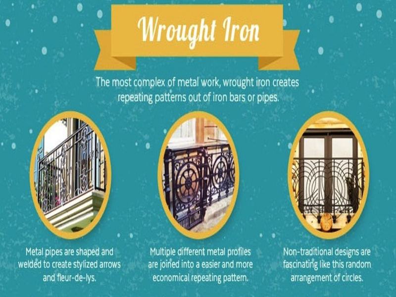 Infographic on wrought iron railings. Courtesy of Mountain Laurel Handrail.