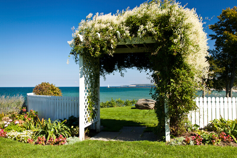 This wide arbor has a pergola top that is nearly invisible under the thick Wisteria along the top. A picket fence surrounds a small lookout and picnic area that has a gorgeous view.