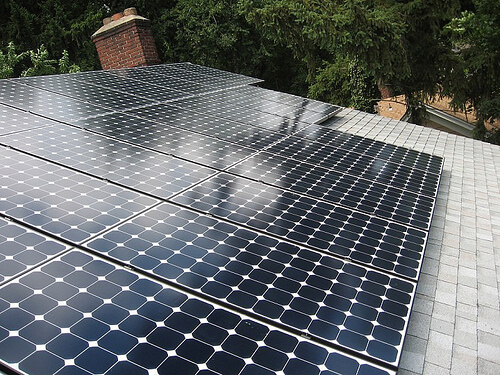 There are three types of modern solar panels for your home, each with different levels of efficiency. The first type, monocrystalline silicon, is the most efficient. In other words, these panels make the most electricity from the same level of sunlight. Ideal for rooftop installations, they're easily identified by their high silicon content, revealed by square shaped cells. Polycrystalline silicon panels have lower silicon levels, and are accordingly less efficient, but are much less expensive to produce. They have a more groovy, woven look, and are thinner. These aren't as much recommended for home use.