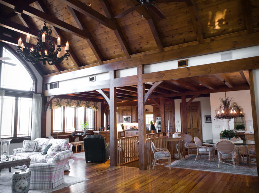 Here is a room with a stunning vaulted ceiling with a bit of exposed beams. This rich and layered ceiling not only adds some perceived space to the room, but also brings a rustic and rugged charm to the design.
