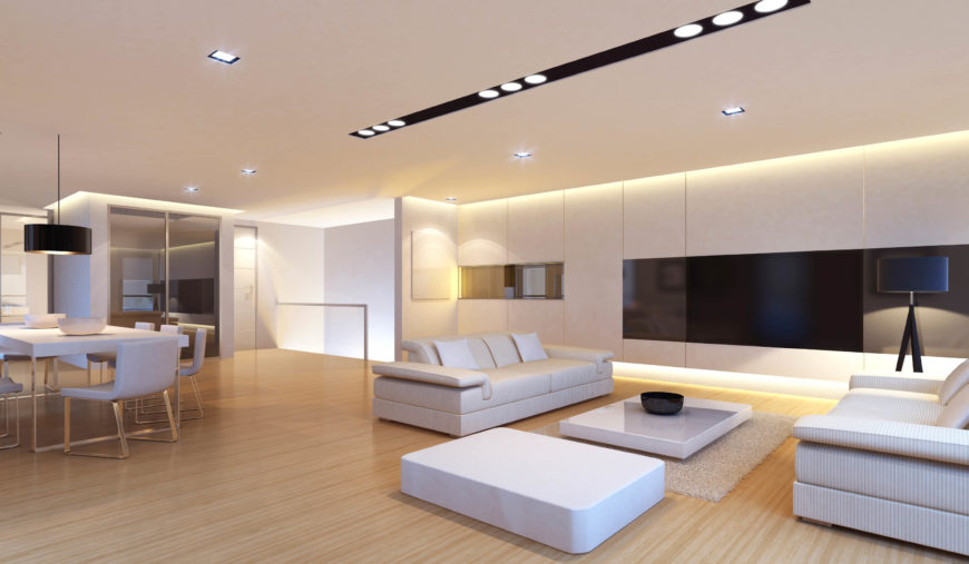 here is a bright and simple modern living room that uses a number of simple recessed - Living Room Light