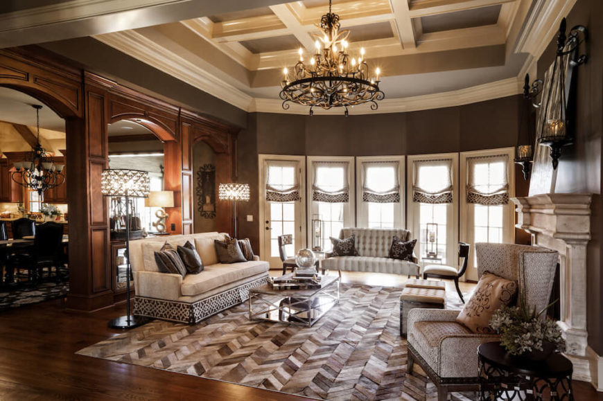 This Picture Shows A Living Room Rich In Nice Wooden Tones, And Elegant  Furniture.
