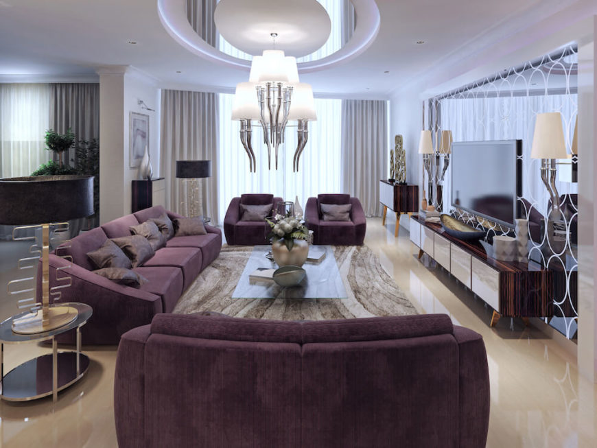 This living room as a unique and beautiful chandelier to provide the light the silver