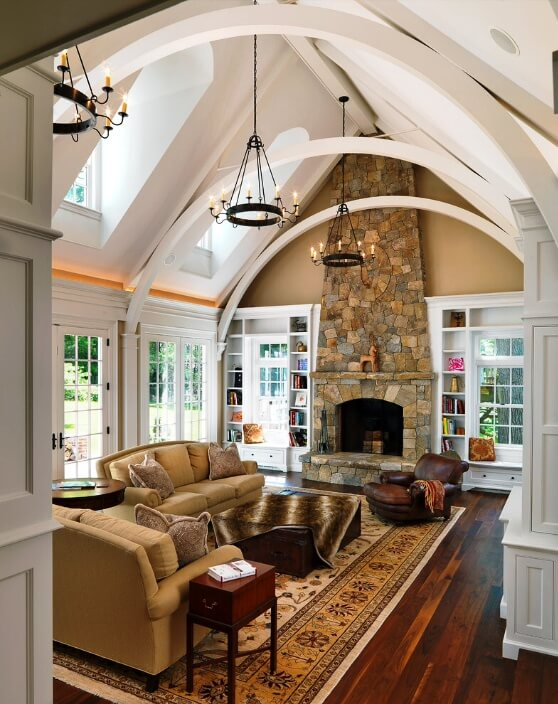Your exposed beams don't have to be left with their natural wooden tones and