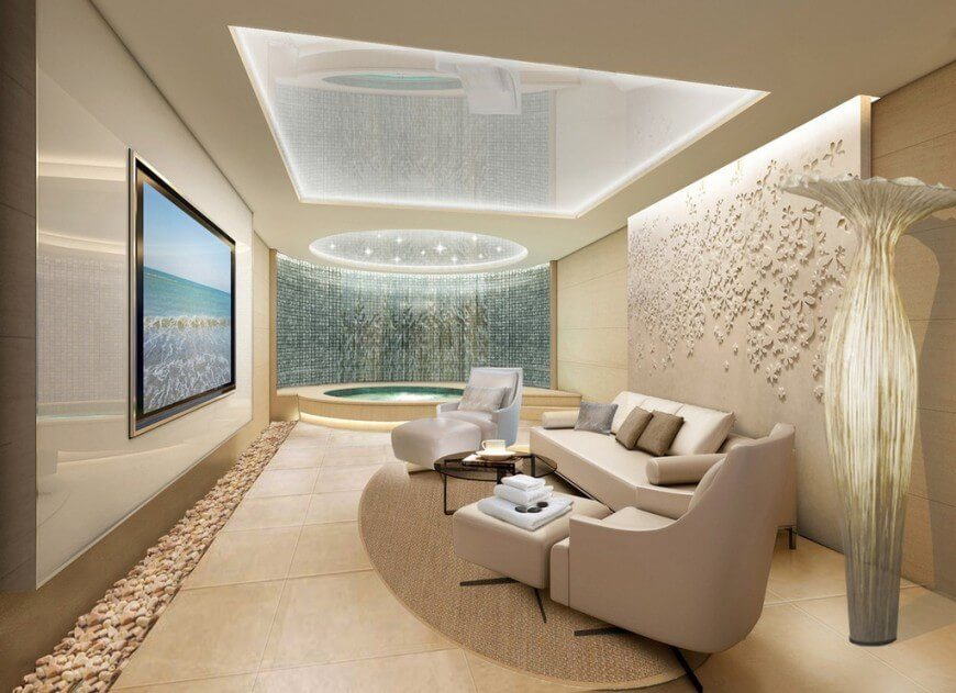 In this uncluttered and interesting living room, the ceiling includes a dome with a sparkling and bright appeal.