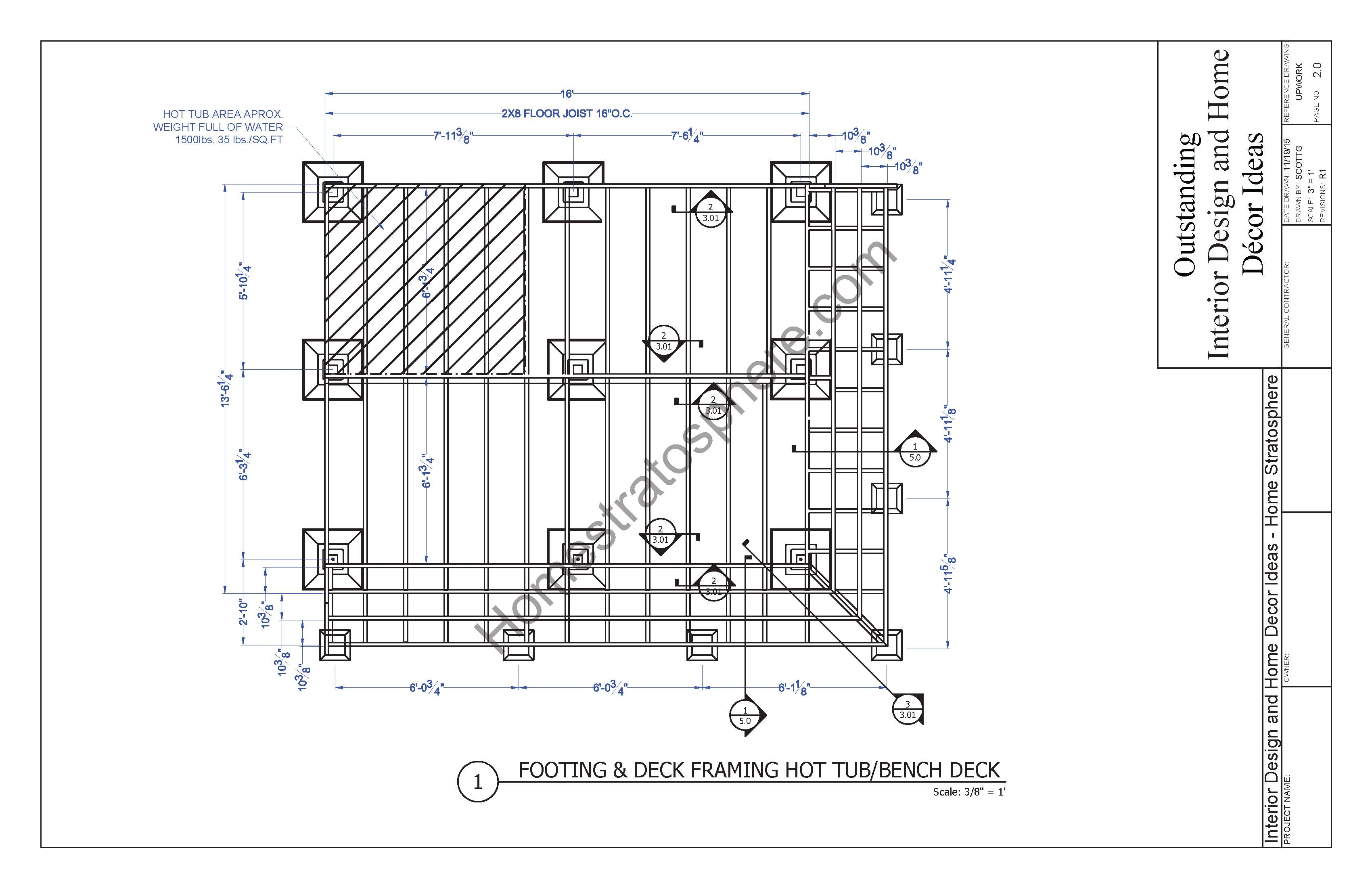 Footings blueprint for deck with hot tub