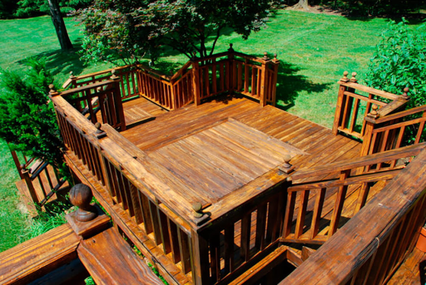 This incredible and complex deck series leads down to several different sections of the enormous backyard.