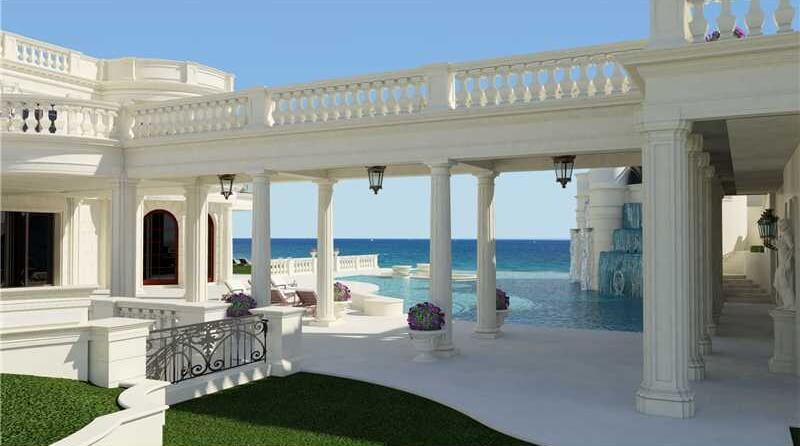 Stone is expensive, so it's really only used in mansions with already impressive architecture. In this case, it fits perfectly along a stone walkway held up by fluted columns in a distinctly ancient Greek style.
