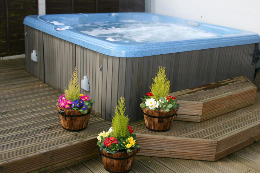 Here is a classic above ground hot tub. This kind of hot tub is perfect for personal use. It's a nice get away from the world when you need to escape after a long day and relax.