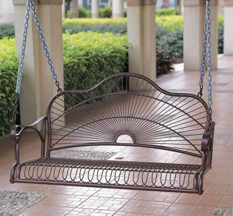 A simple and elegant metal swing can add a great deal to any design. This swing has plastic sheaths on the chains which is a good idea. Chains have the potential to pinch fingers and hands if you are not careful. These kinds of sheaths are great for helping prevent these injuries.