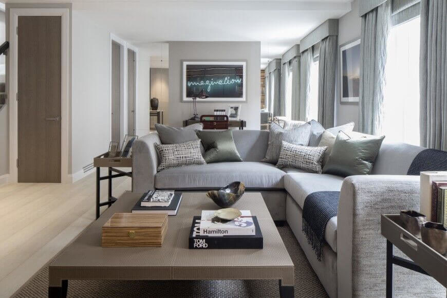 A sectional sofa can be very welcoming and comfortable. They can be a place to sit many people or a spot to lay down and nap. They don't always have to be expansive. This sectional offers a bit more seating than a standard sofa, but is not exceedingly large.
