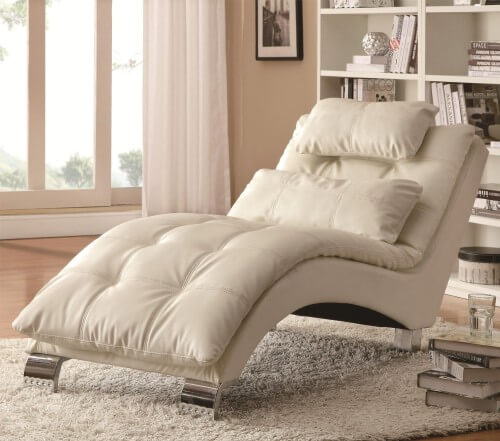 Contoured White Chaise Lounge