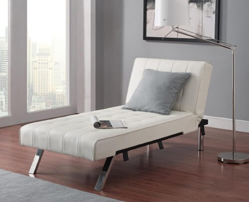 Mid-Century Modern White Chaise Lounge