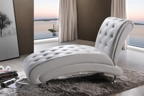 Overstuffed Tufted Arched White Chaise Lounge