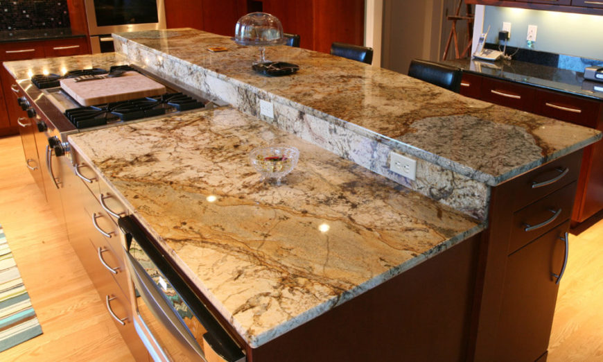 Another Look At Beige Granite This Island Is Two Tiered With A Small Granite