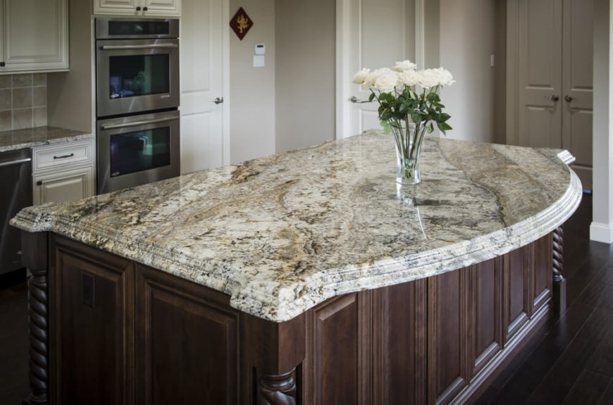 Another Rich Cream Granite With Light Brown And Black Veining. A Stacked  Edge And A