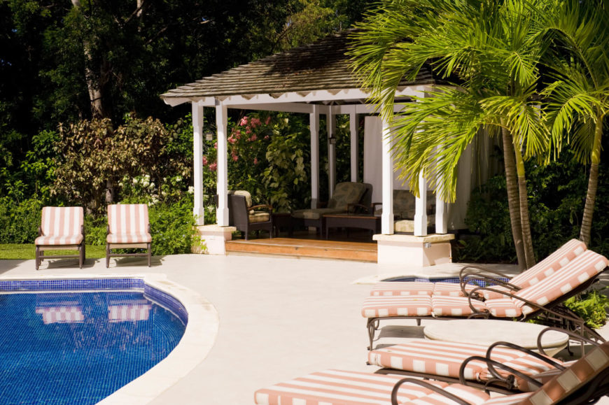 Here Is A Poolside Pavilion That Is Perfect For A Party. Some Party Goers  Can