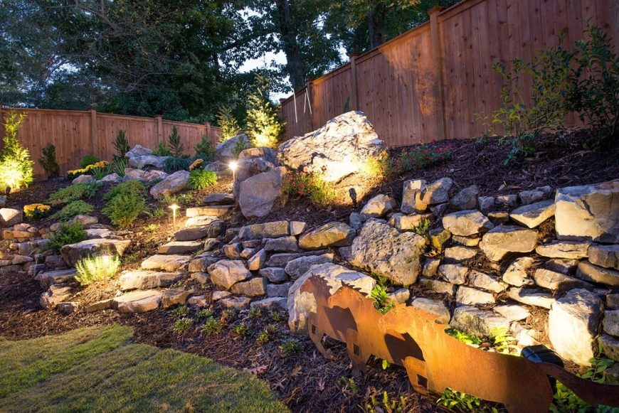 Stake lights and directed lighting fixtures are perfect for highlighting paths and specific features in your garden. Pointing lights at features such as light colored rocks and walls can reflect the light over the rest of the garden, creating a softer feel.