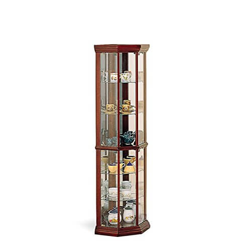 Coaster Solid Wood Glass Corner China Curio Cabinet, Cherry Finish