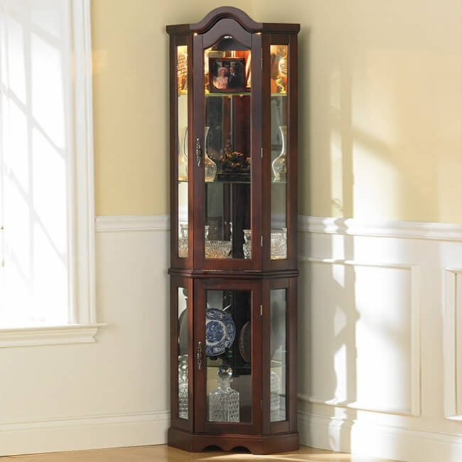 Southern Enterprises Lighted Corner Display Cabinet, Mahogany