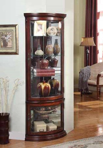 Vintage Look Cherry Wood Finish Corner Curio Cabinet