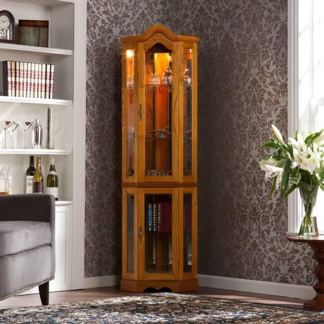 Burke Corner Curio Cabinet - Golden Oak