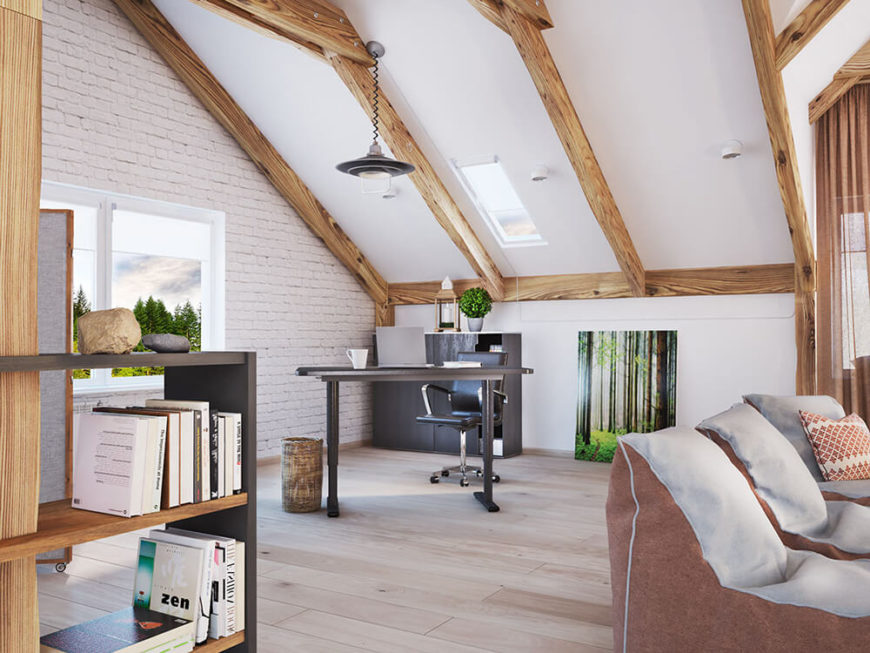 Across the home in the opposite corner, we find the home office setting. This area is defined simply by a black writing desk and lack of other furnishings. The rich natural wood exposed beams can be seen clearly overhead.