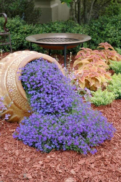 Here is a wide and shallow metal bird bath, designed for the birds that want a quick soak near a colorful bloom of flowers. It's a classy little spot for your bird friends to bathe in the water.