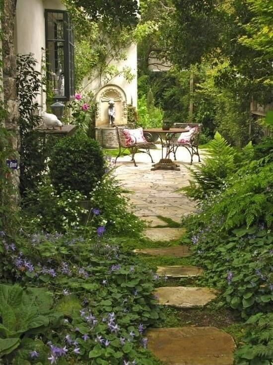 If you'd prefer an overgrown secret garden appeal, perennials are your friend. They are opportunistic, gladly taking the space given to them and will continue to grow. Let them grow and they will surround your space with lush greens and slashes of color.
