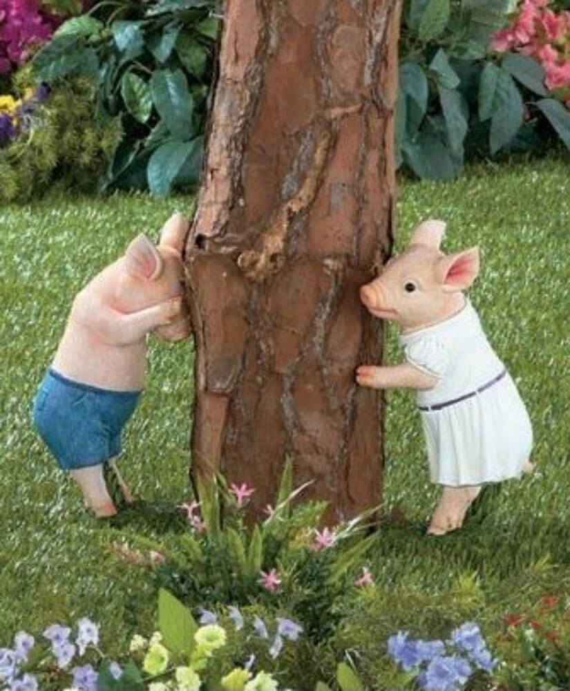 If you prefer a fairy tale aesthetic in your yard you can get a sculpture like this one. These cute little piggies are playing hide and go seek. This is a playful piece that can bring joy and levity to your garden.