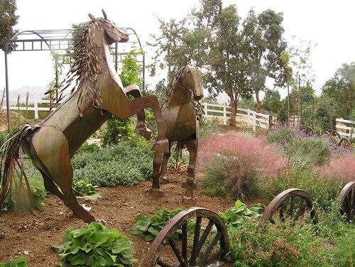Sculptures can be used to continue and accentuate theme as well. These metal horses continue the Western theme that the rest of the yard has. It is a great way to continue the motif.