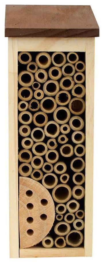 This high rise bee house is designed to fit up against a tree or beneath an overhang in a slim, unobtrusive way. The various sized holes are perfect for valuable bees to live in, and the sloped roof ensures that it's free of water damage.