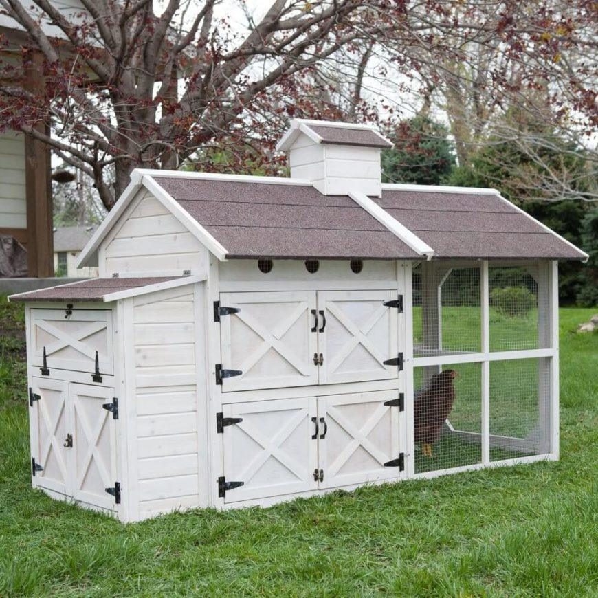 This large and handsomely decorated chicken coop features bold black metal latches and a white paint job that makes it truly pop in a lush backyard. The large roof overhang ensures that the outdoor component is sheltered from rain.