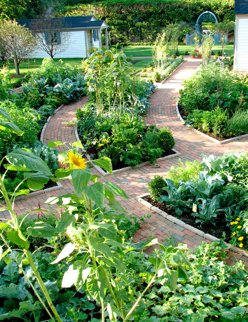 This neat backyard space is weaved in fantastic brick pathways. The plant gardens tucked between these paths are lush and varied, making this space blooming.