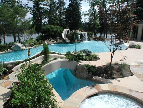 In your own personal water park you can landscape any way you please. You can really bring your water park to life with lush plants and trees. Rock features can also tie your park in with the landscape of the wilderness.