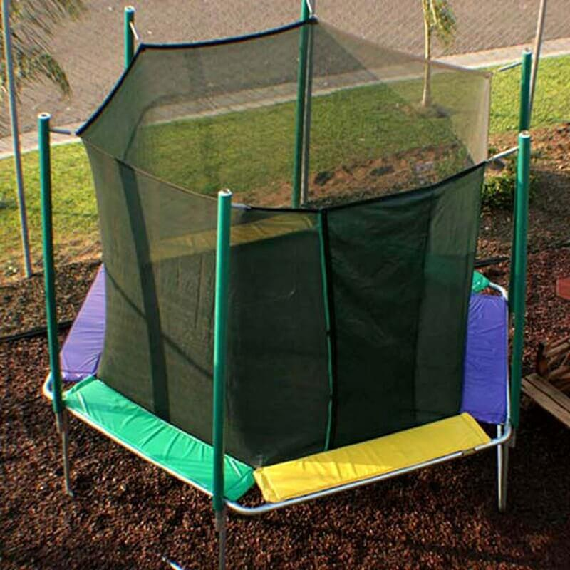 This small trampoline has padded spring covers as well as a safety net. This is a great starter trampoline for kids or those not interested in what the larger more involved trampolines have to offer.