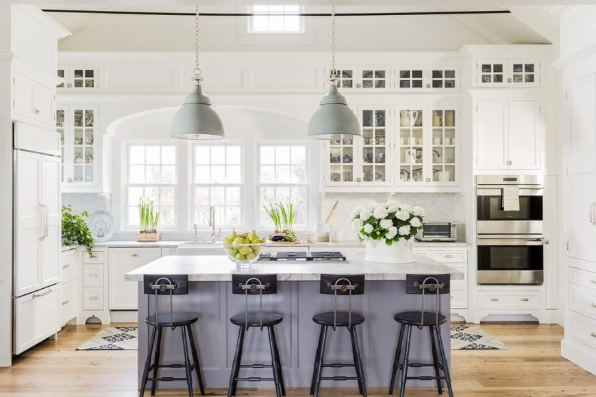 Classy kitchen with classic glass-fronted cabinets.