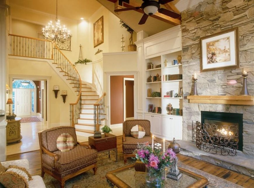 Cozy living room with lovely architectural details and built-in features.
