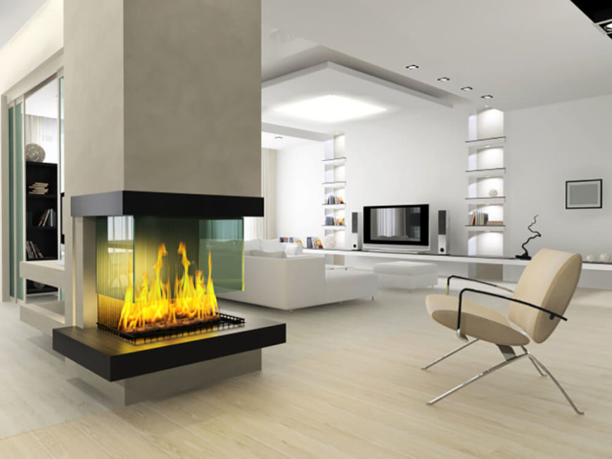 Modern fireplace with three sides open and a glass shield.