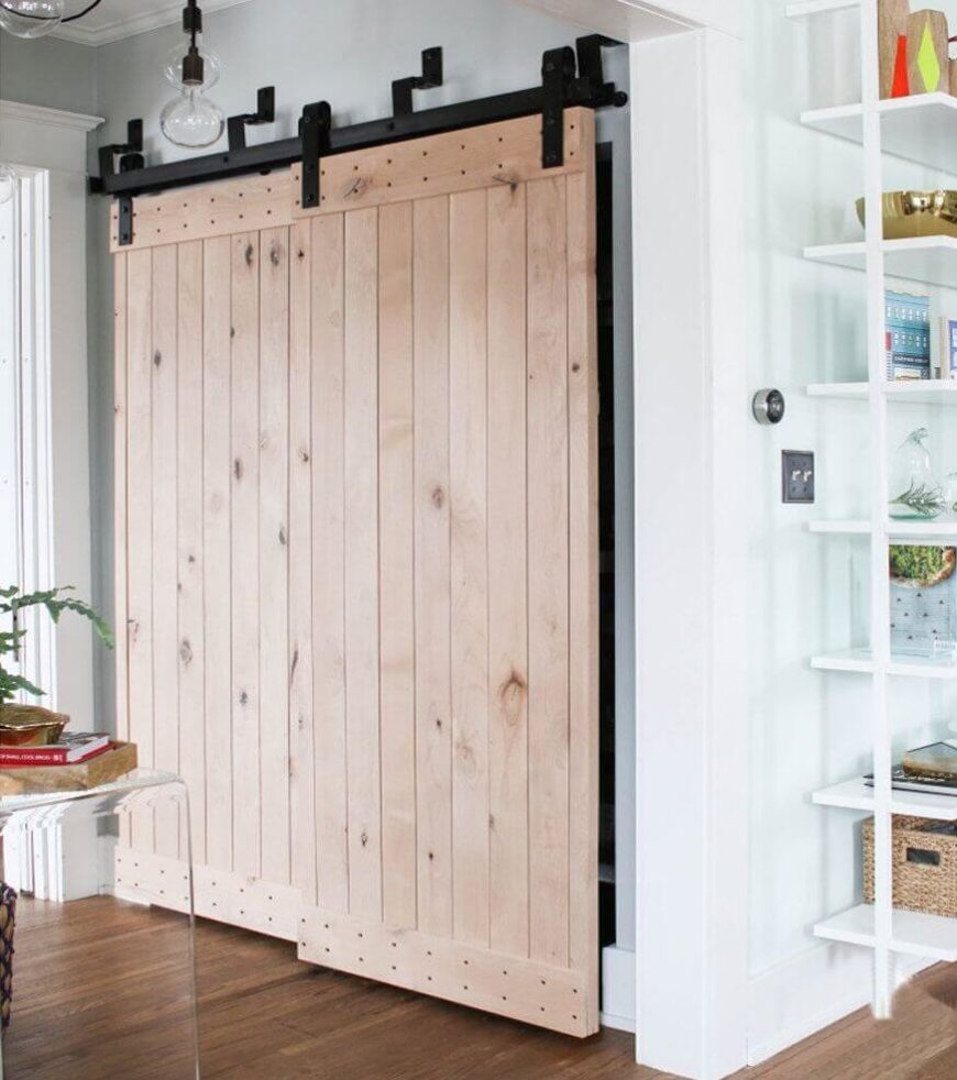 Simple Light Wood Barn Doors Can Be Used In Place Of Closet Doors In An  Entry