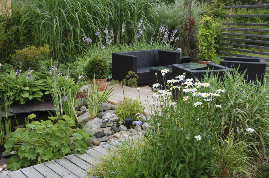 The right selection of plants is what really makes a small garden special. Make sure that your plants fit your theme and tone. With a water feature, tall grasses and marsh plants are perfect to exemplify the pond look.