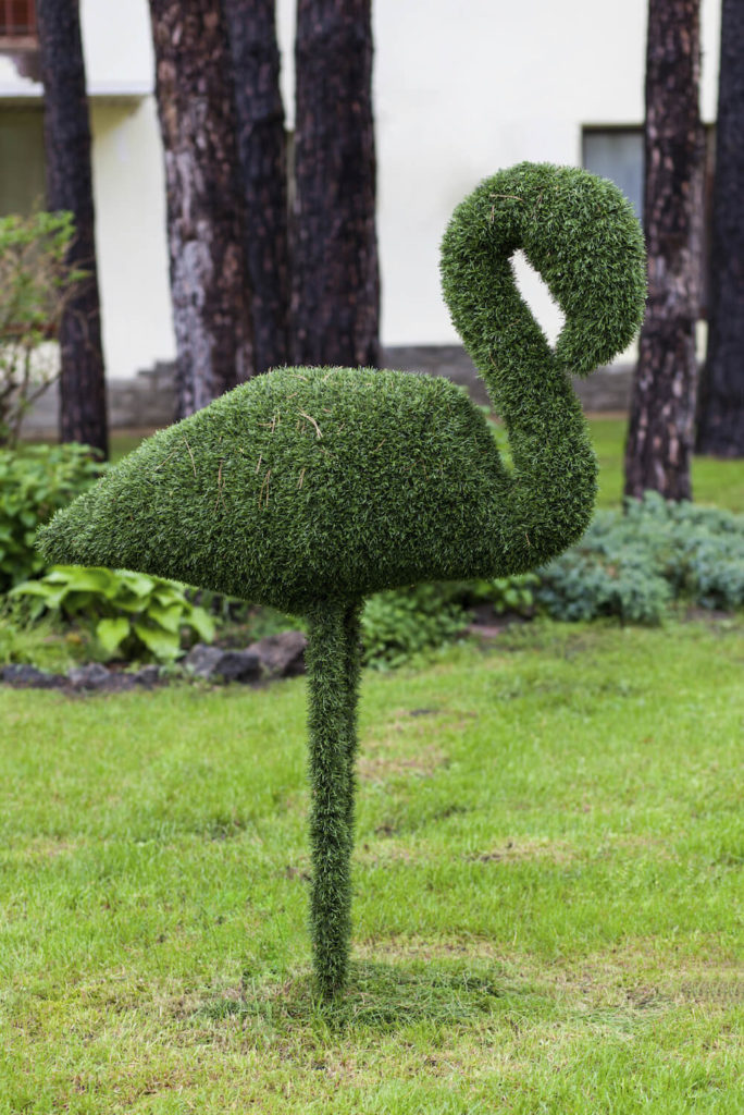 If you want to get creative you can even cover objects with astroturf. Here is a lawn flamingo coated in the fake grass. It almost looks as though it has been crafted from a hedge. Unlike a hedge, it will not have to be maintained.