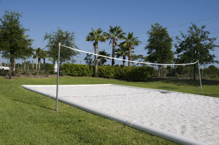 This lovely volleyball court has pvc lining and beautiful white sand. This is a great place to play a round of volleyball.