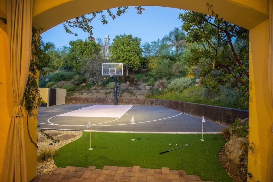 This half court is a great space to practice shots. It is particularly  useful for - 34 Backyard Courts For Different Sports (Tennis, Basketball