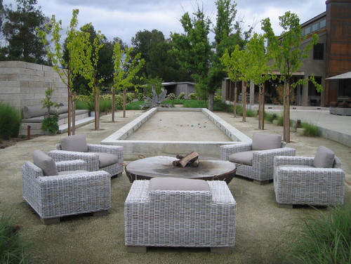 Because bocce ball is such a great sport to play with casual friends you can create a relaxing hang out spot near your bocce ball court. This way your casual games can be accommodated anytime.