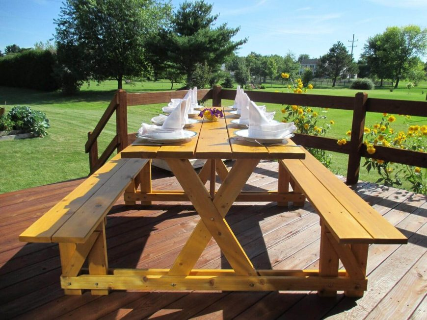 This long and beautiful picnic table is the perfect setting to get your picnic or cookout rolling. This mid ranged picnic table offers room for up to eight and is made from lightweight cedar. This table would accentuate any patio that it graces.