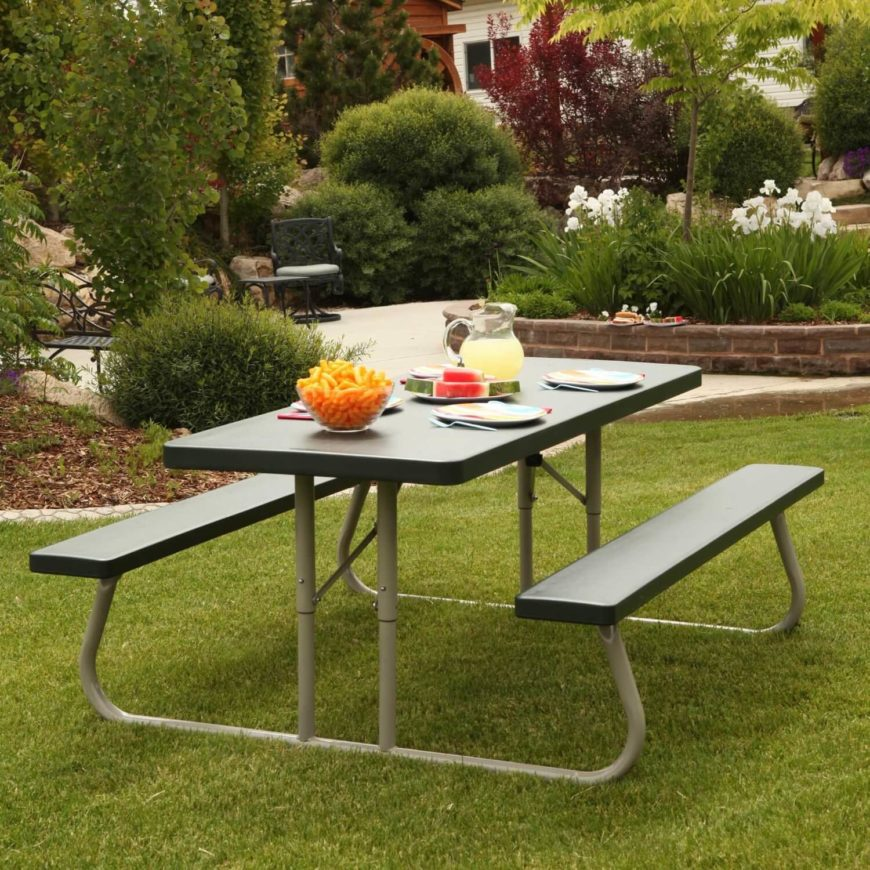 This metal and plastic picnic table is mid range in cost and durable. This style of picnic table is clean and uncomplicated without fuss. This type of picnic table is easy to maintain and clean.