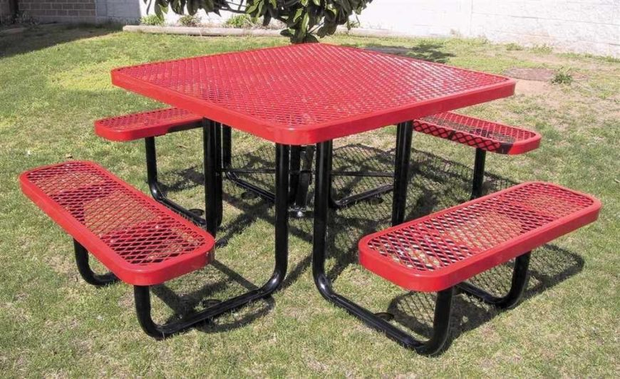 This square picnic table is the favorite of many different establishments, including schools. The mesh top and seats are made out of metal but coated in plastic, making them very easy to clean and durable against the elements.